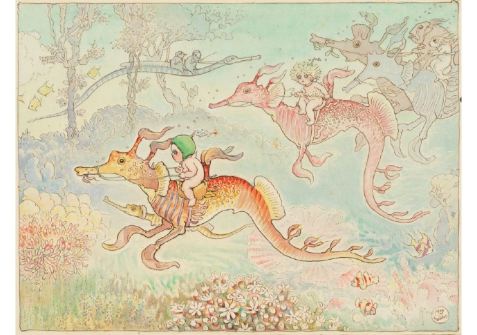 May Gibbs (Australian, 1877-1969). Riding home on the dragons, from Little Ragged Blossom and more about Snugglepot and Cuddlepie. 1921. Watercolour.