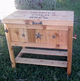Beautiful LARRY The Glider Guy: CUSTOM BUILT WOODEN ICE CHEST!