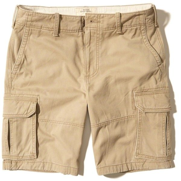 Hollister Cargo Fit Shorts ($25) ❤ liked on Polyvore featuring men's fashion, men's clothing, men's shorts, khaki, mens khaki shorts, mens khaki cargo shorts and mens cargo shorts
