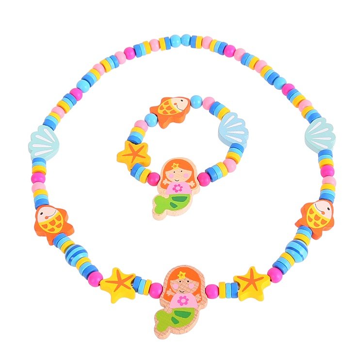 With its blast of vibrant colours, this pretty beaded necklace and matching bracelet is the perfect accessory for little princesses everywhere. The mermaid, seashell and starfish design is inspired by all things nautical - just right for lovers of the seaside! The lightweight wooden beads are threaded on a strong but gentle elasticated cord. Ages 3 years and up. 2 play pieces. http://shop.bigjigstoys.co.uk/p/mermaid-jewellery-set