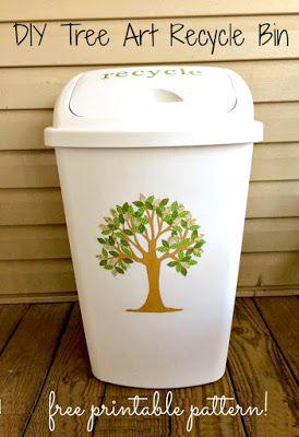 DIY Tree Art Papierkorb Mülleimer und frei druckbare Muster