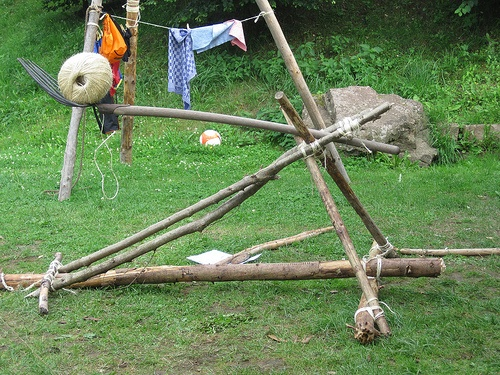 Catapult made from branches and some sisal rope during our for Outdoor crafts for camping