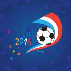 EURO 2016 European Championship Soccer. Soccer ball on blue background and abstract shapes blue, white, red colors. Championship soccer ball wallpaper. Vector Illustration.