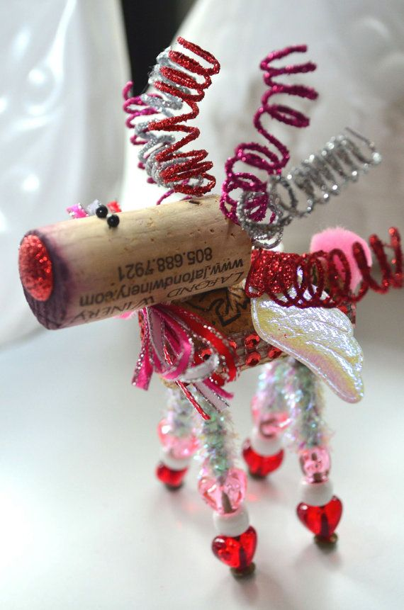 Cupid Wine Cork Reindeer Ornament Valentineu0027s Day by