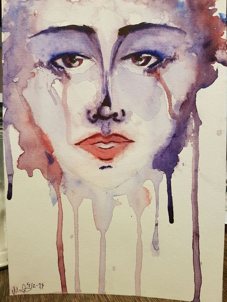 An artwork painted by my 17 year old daughter Mathilda. She used aquarelle  (watercolor).