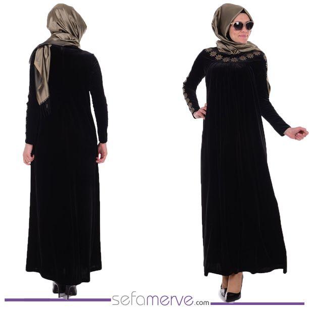 Kadife Nakışlı Elbise 0481-02 Siyah...  Türkiye ve Avrupa Ülkelerine Kargo BEDAVA! #sefamerve #tesetturgiyim #tesettur #hijab #tesettür