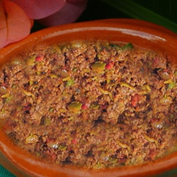 Picadillo – Cuban-style Hash It might seem like an unusual combination but it's delicious.  I add potatoes which is common in picadillo. It is often served over rice.  I also serve with back beans.