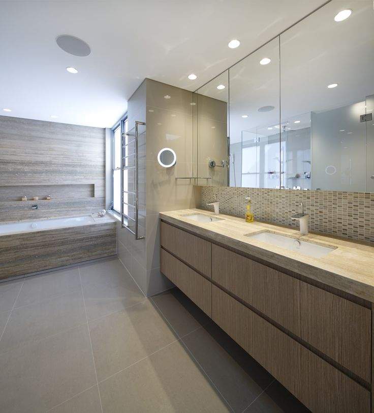 Italian Silver Travertine vanity, bath surround and feature wall