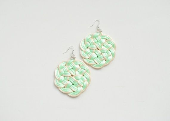 Mint and cream knot earrings hand knotted four by elfinadesign