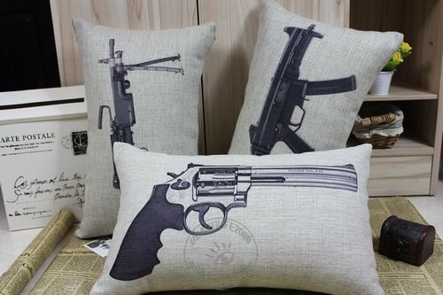 Novelty Linen Gun Pattern Revolver Print Pillowcase Decorative Cushion Cover | eBay