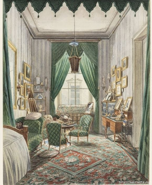 Дизайн интерьера. Романтика 19-го века. Акварель (9) (578x700, 341Kb)