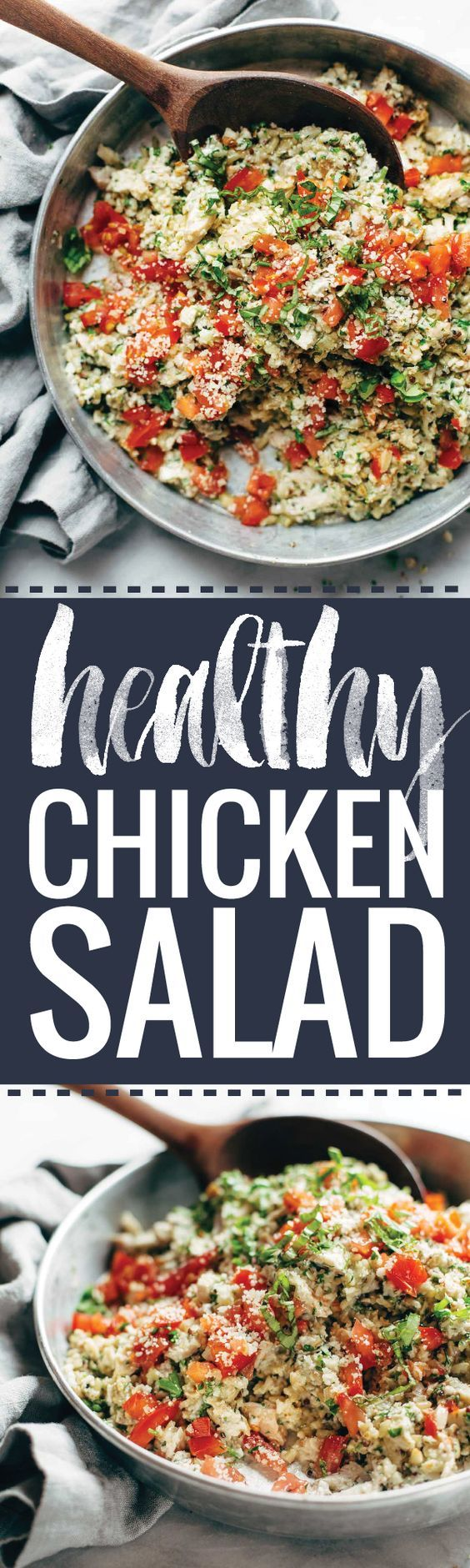 Garlic Herb Chicken Salad - this healthy chicken salad is CREAMY and CLEAN with no mayo! like a cross between herby bruschetta and chicken salad. Super easy, too! | pinchofyum.com