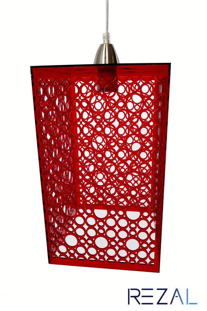 Laser Cut Modern Circular Design Custom Color DIY Hanging Light Pendant - This is QAQ's 'Capri' design made into a lamp for our home decor laser brand, Rezal.