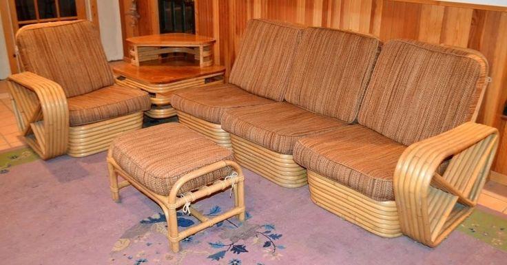 Rattan Pretzel Sofa (6 Pieces) Group, Frankl Style for ...