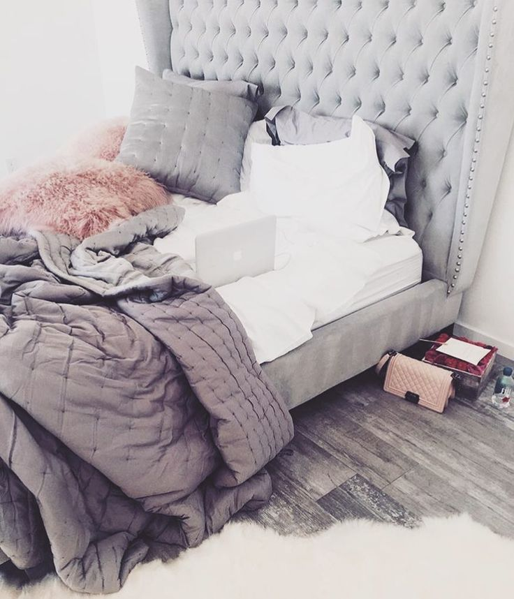 Gray And Pink Bedroom Ideas Part - 40: Upholstered Bed, Over Stuffed Pillows, Multiple Blankies