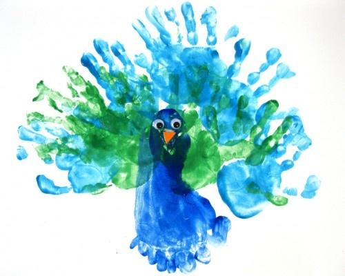 Hand Footprint Peacock Zoo Animal Crafts Art Footprint
