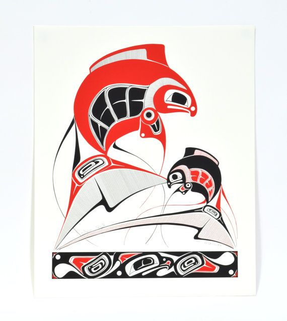 Vintage 1993 Life Cycle Salmon and Eagle Print by NativeArtPrints