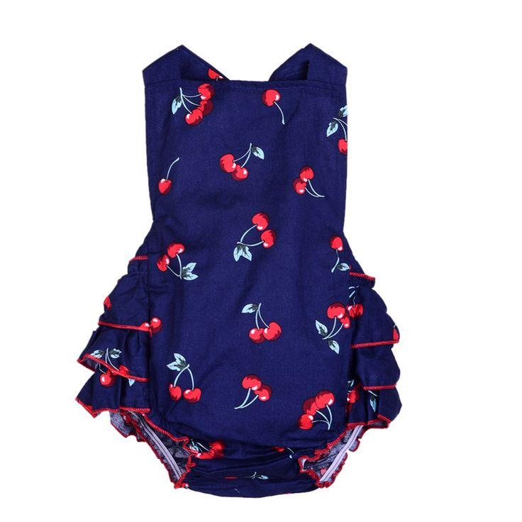 100% хлопок для маленьких девочек Комбинезон + повязки без рукавов с принтом вишни одежда для малышей новорожденных комбинезон летнее платье купить на AliExpress
