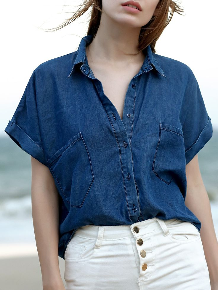 Pockets shirt collar short sleeve chambray shirt shorts for Chambray shirt women