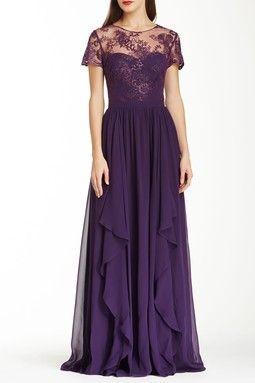 Badgley Mischka Embroidered Cap Sleeve Silk Gown
