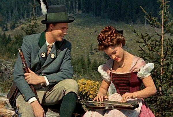"Romy Schneider as Sissi and Karlheinz Böhm as Franz Joseph in ""Sissi"" (1955)"