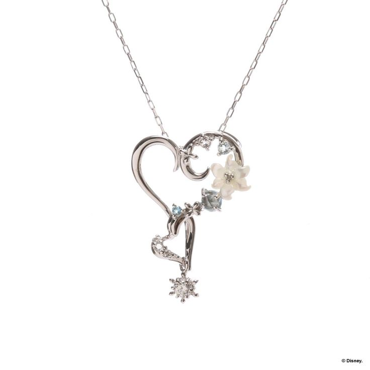 "Samantha Thavasa Samantha Tiara Disney collection ""The Snow Queen and Ana"" series Heart Necklace (Color: White Gold) (Frozen)"