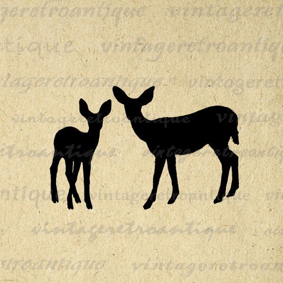 Printable Graphic Deer Silhouettes Image Download Animal Artwork Digital Vintage Clip Art. High resolution printable digital image clip art. This high quality digital illustration is excellent for printing, transfers, and other great uses. Real vintage artwork. Antique artwork. This digital graphic is large and high quality, size 8½ x 11 inches. Transparent background PNG version included.