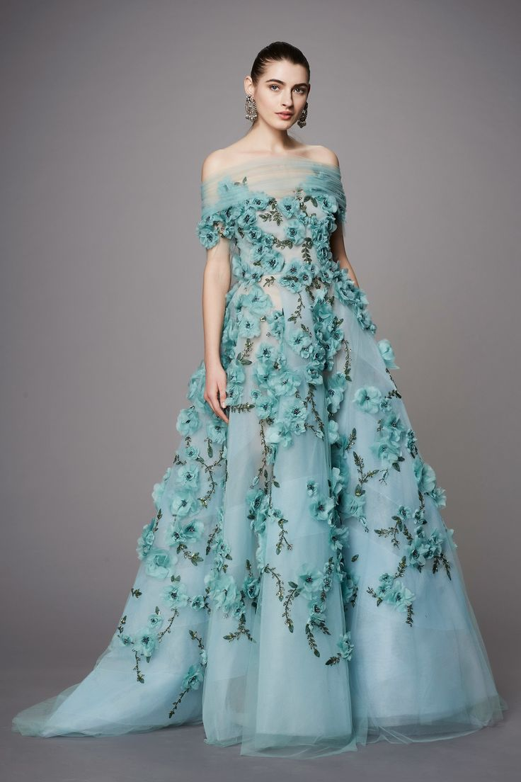 Marchesa Pre Fall 2017: Robin eggs blue is a lovely color! I adore the intricate floral design! On trend off shoulder detailing