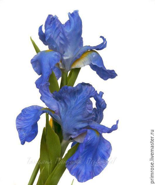 """""""Руцарь голубых кровей""""  Яркие цветы для букета или интерьерной композиции. Ирис из флористической полимерной глины. #декор #длядома #цветыизглины #polymerclay #handmade"""