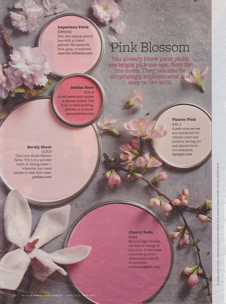 Pretty Pink Paint Colors from Better Homes and Gardens Mag #shadesofpinkpaintcolours