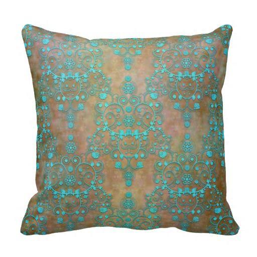 Aqua Teal over Brown Vintage Damask Design Throw Pillow