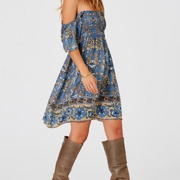 Summer Dress Bohemian Dress Short-sleeved One-shoulder Wrapped Chest Positioning Print Skirt