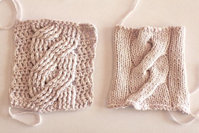 Crocheting Vs Knitting : knitting versus crocheting by comparing swatches of with simple knit ...