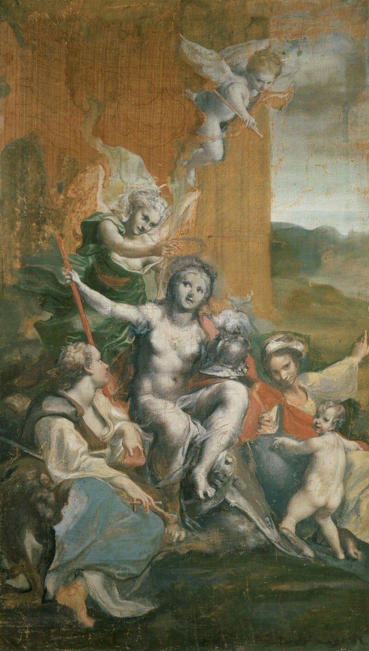 """Allegoria della Virtù.  Galleria Doria Pamphilj. 1530-34. Servì a Bernini come fonte d'ispirazione per la """"Verità svelata dal tempo"""". Esiste una versione finita al Louvre e una di minore qualità ad Edimburgo."""