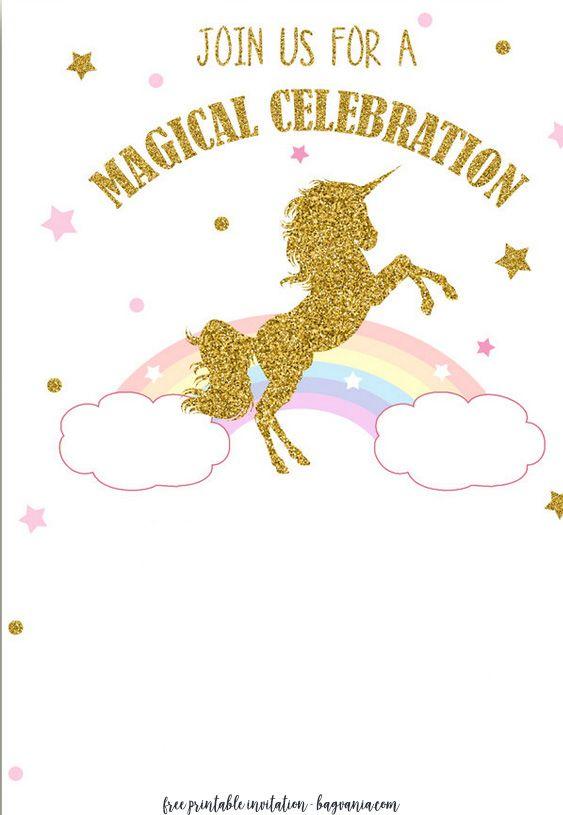 FREE Printable Golden Unicorn Birthday Invitation UNICORN