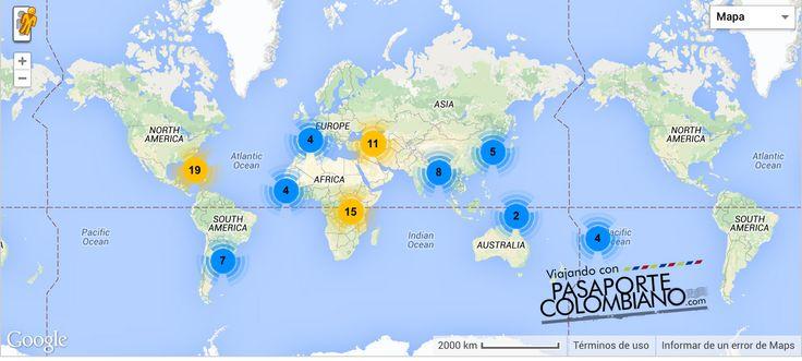 Países donde los colombianos no necesitamos visa o que se obtiene al llegar.