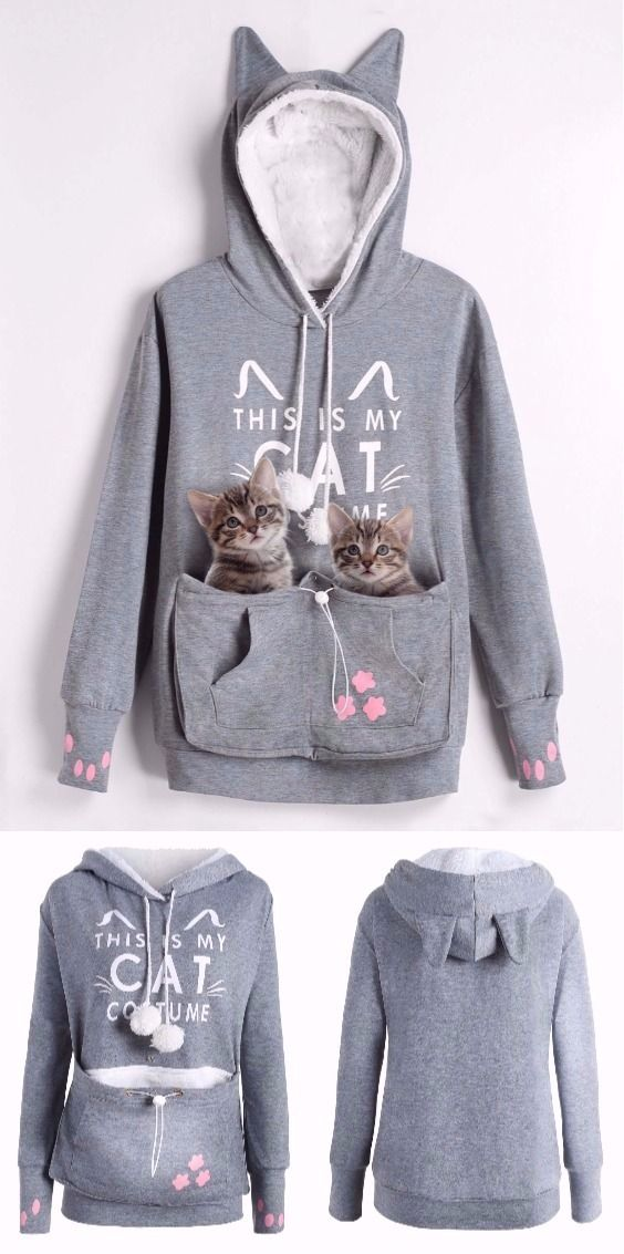 Plus Size Cat Holder Pouch Pocket Hoodie