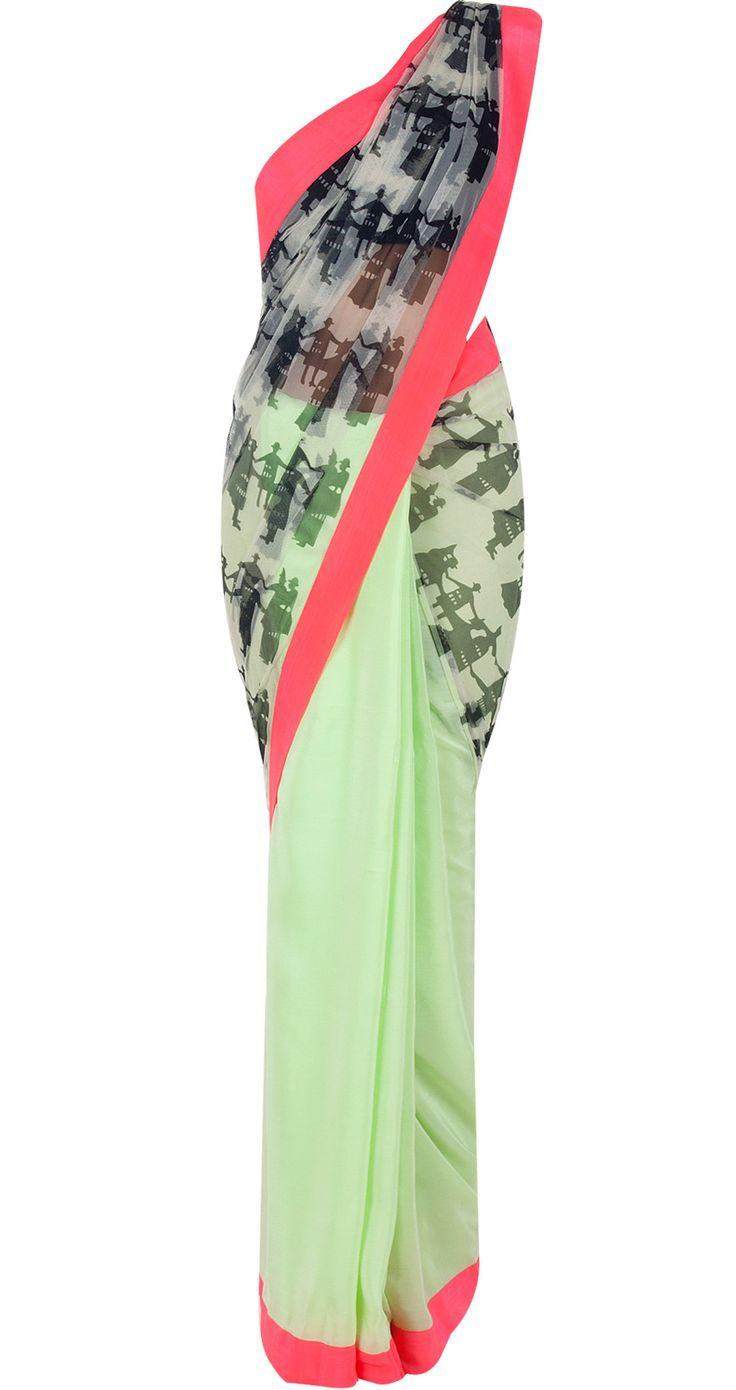 Mint green people print sari by MASABA. Shop at http://www.perniaspopupshop.com/whats-new/masaba-77