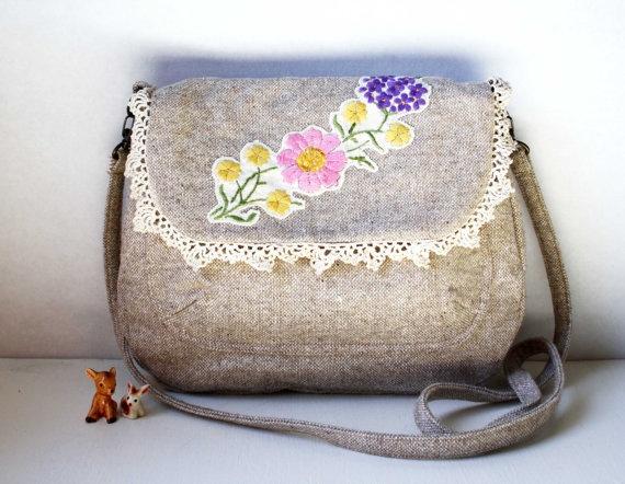 Lola lovely vintage floral across body bag by Obelia Design on Etsy, $155.00