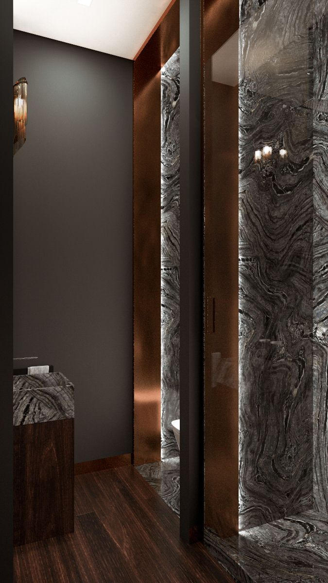 Minimalist chick bathroom Arseny Kerzman 2014 #bathroom #minimal #marble #copper #luxury #shower