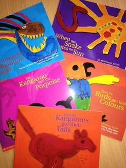 Australia - Dreamtime Story Book Pack of 5  A variety pack of 5 Dreamtime Aboriginal Stories;     Pack may include Snake Bites the Sun  How the Kangaroos got thier tails  The Kangaroo and the Porpoise  Warnayarra the Rainbow  How the birds got their colours  Tiddalick the frog, Sam's Bush Journey or a combination of similar titles depending on stock levels at time of order