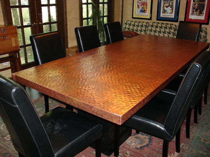 Copper top dining room table for Best dining room looks