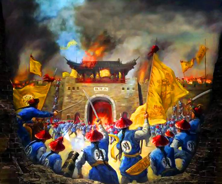 Manchu crack troops of General Zeng Guofan's Xiang Army storming Sanhe city gate, Battle of Sanhe, Taiping Rebellion