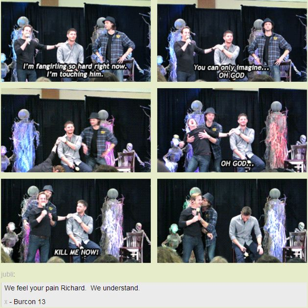 [GIFSET] I feel this way every time I look at him! Richard Speight, Jr. fangirling over Jensen at BurCon2013 :)