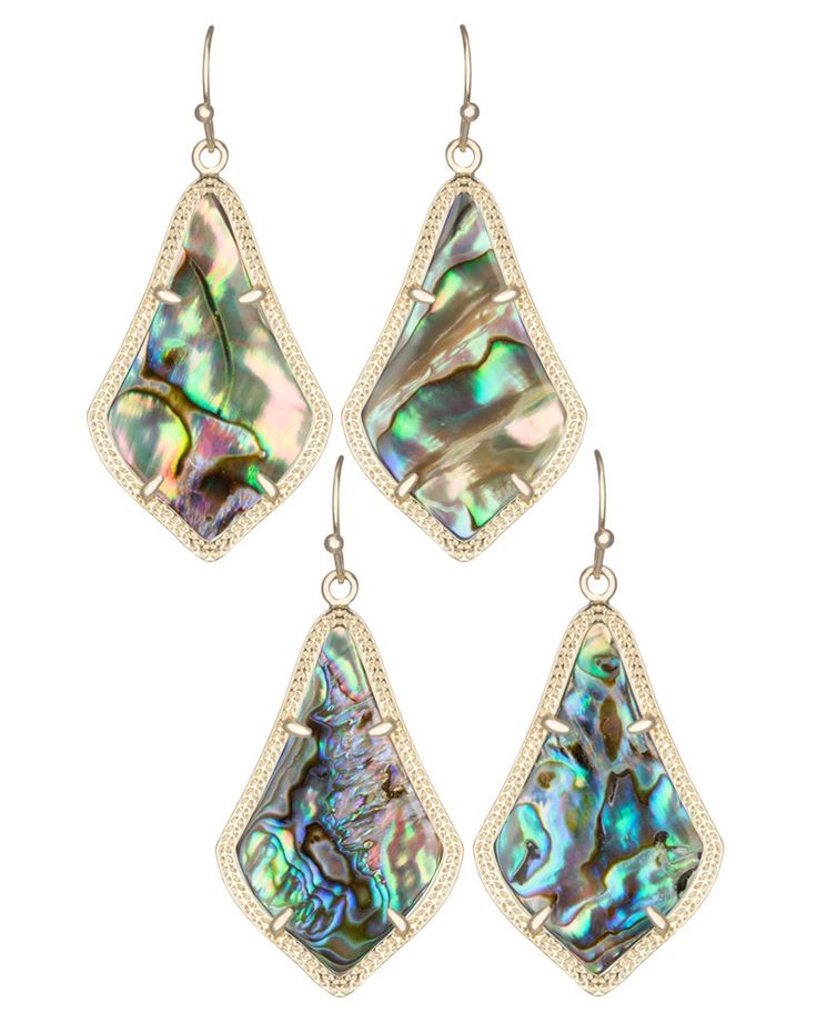 Alex Moroccan Earrings in Abalone Shell - Swirls of cool colors within pear-shaped stones create a feminine silhouette in these earrings.