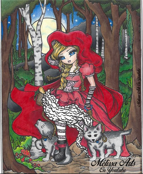 Red Riding Hood Du livre Mermaids Fairies & Other Girls of Whimsy   Video disponible sur ma chaîne Youtube :  https://www.youtube.com/watch?v=RvSuieXTeVs #coloriageadulte #adultcoloringtutorial #coloringtutorial #hannahlynn #hannahlynnart #whimsy #whimsygirls #prismacolor #prismacolorscholar #coloring #colouring #colorist