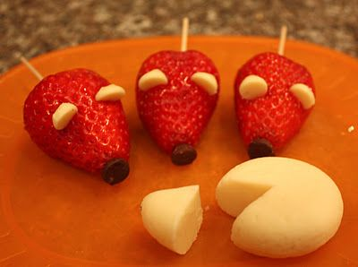Strawberry mice snacks! All you need is strawberries, chocolate chips, and white chocolate chips!