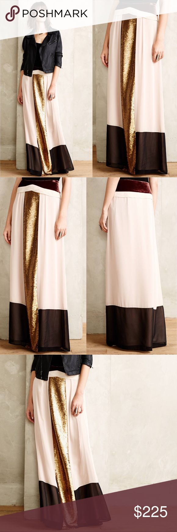 Anthropologie Intropia Sirena Maxi Skirt gorgeous work of art! high end designer hoss intropia designed this stunning skirt with beautiful gold matte sequins and velvet touches for an overall divine effect!   says size 40 which i think corresponds to an 8/10. Skirts Maxi
