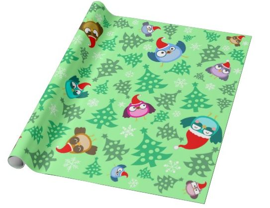 """Owls"" custom christmas wrapping paper pattern on sale in my zazzle store!  www.zazzle.com/martinaterzi check it out!"