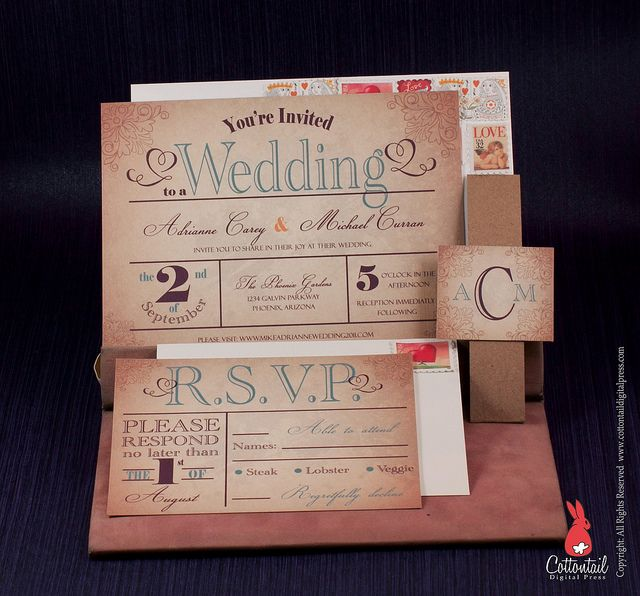 Old World Country Wedding Invitation by CottontailDigitalPress, via Flickr